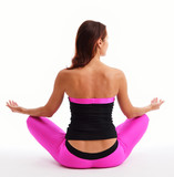 Woman sitting in the lotus position