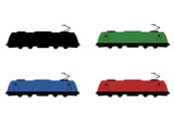 Modern electric locomotive pictogram set