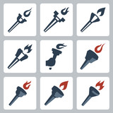 Vector isolated torches icons set