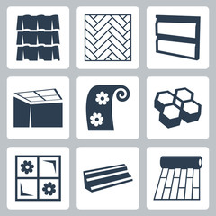 Vector building materials icons set