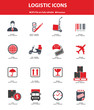 Logistics & transport icons,Red version,vector