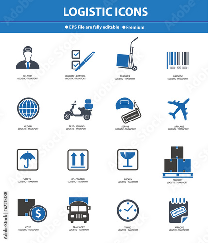 Logistics & transport icons,Blue version