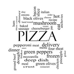 Pizza Word Cloud Concept in black and white