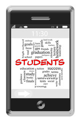 Students Word Cloud Concept on Touchscreen Phone