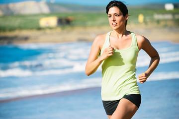 Running workout on beach