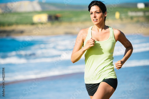 Running workout on beach