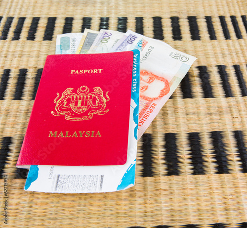 Malaysian passport with Philippine currency