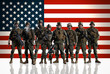 Soldiers against the background of the American/USA flag.