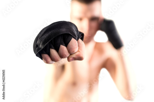 Fighters punch. Isolated on white background. Bokeh.