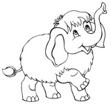 Vetstor cartoon. Little baby mammoth