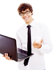Guy with opened laptop showing forefinger