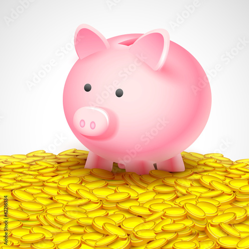 Piggy Bank on heap of gold coin