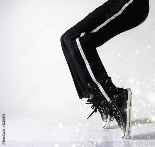 dancer in action with sparks effect