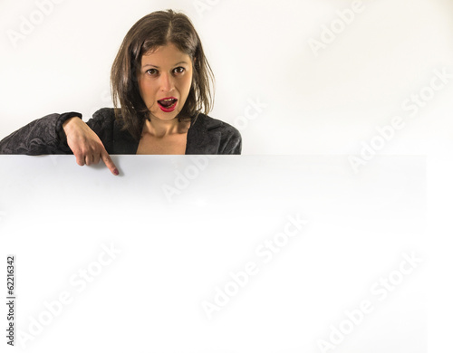 woman pointing finger on an advertising poster