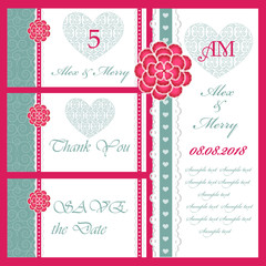 Set of wedding invitations and announcements .