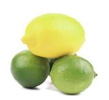 Fresh lime and lemon isolated on white.