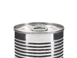 Aluminum tin can on a white background.