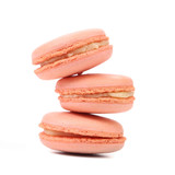 Stack of pink macarons.