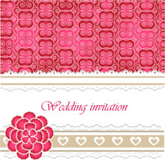 Wedding invitation card with lace elements