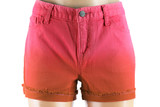 Red women jeans shorts. Front