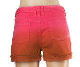 Red women jeans shorts. Back