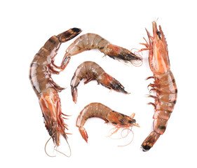 Some raw shrimps with different size.