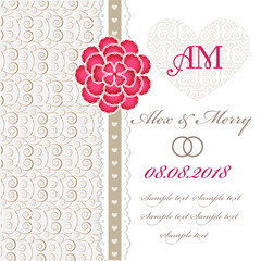 Wedding invitation card with floral elements.