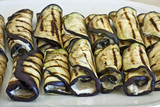 aubergine rolls grilled and stuffed with cheese cream