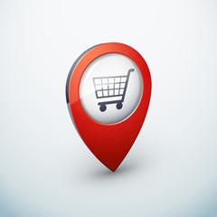 icône épingle punaise marqueur carte shopping panier