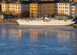Old white ship at Riddarholmen Stockholm in winter.