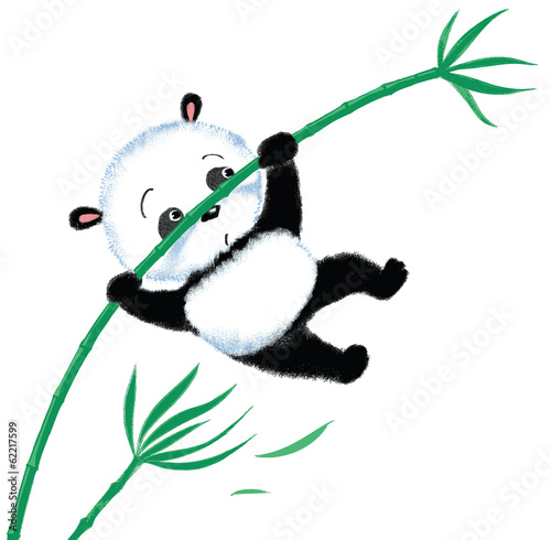 Jumping Panda on bamboo - 62217599
