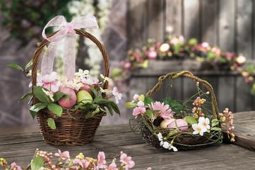 Easter eggs hidden in natural straw nest