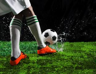 soccer football players kicking to soccer ball