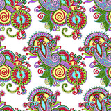 hand drawing ornate seamless flower paisley design background, u