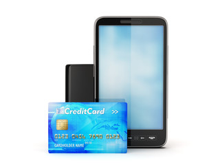 Mobile phone, credit card and leather wallet isolated on white