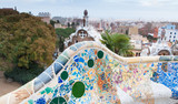 Mosaic benches at the Park Guell, Barcelona
