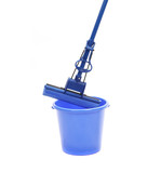 Blue bucket with sponge mop.