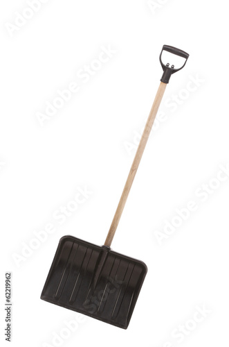 Close up of snow shovel.