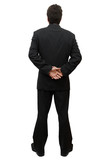 businessman in modern elegant suit standing back isolated