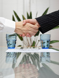 man and woman shaking hands over signed insurance