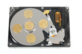 Hard disk without cower with israeli coins