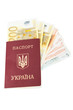 Ukrainian passport with euro
