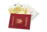 Euro banknotes in Ukrainian passport