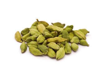 Heap of Cardamom Seeds isolated on white