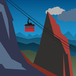 Mountain adventure background, vector illustration