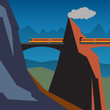 Mountain train adventure background, vector illustration