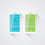 Mobile phone development vector. Flat user interface design.