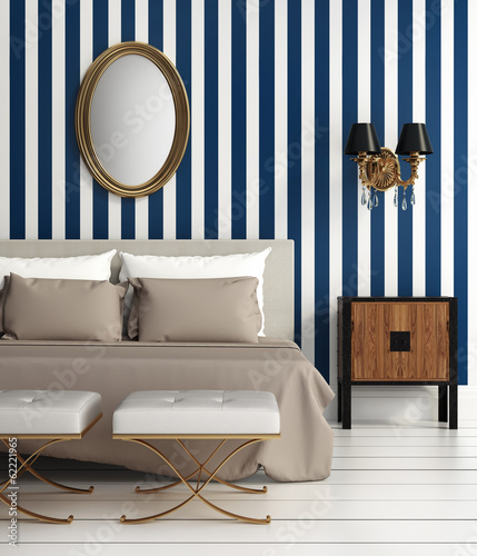 Contemporary elegant luxury bedroom with blue stripes wallpaper
