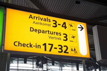 Departures and arrivals board.
