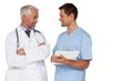Male doctor and surgeon discussing reports